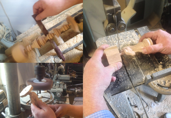 Sanding on the lathe (top left), Sanding on sanding mop (bottom left), cutting out the pieces on a the band saw.