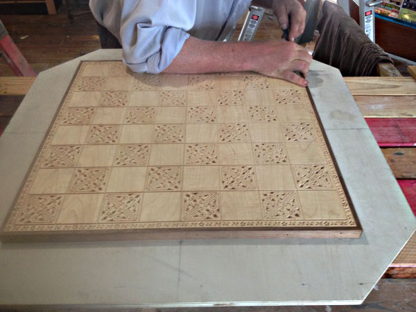 Centering the chessboard on the backer board