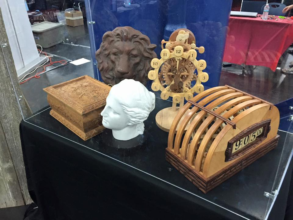 CarveWright Maker Faire Booth Display with clocks