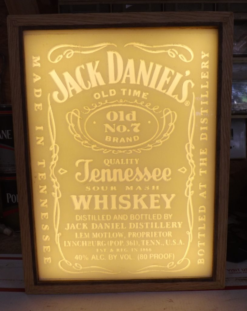 Carved Jack Daniels Lithopane