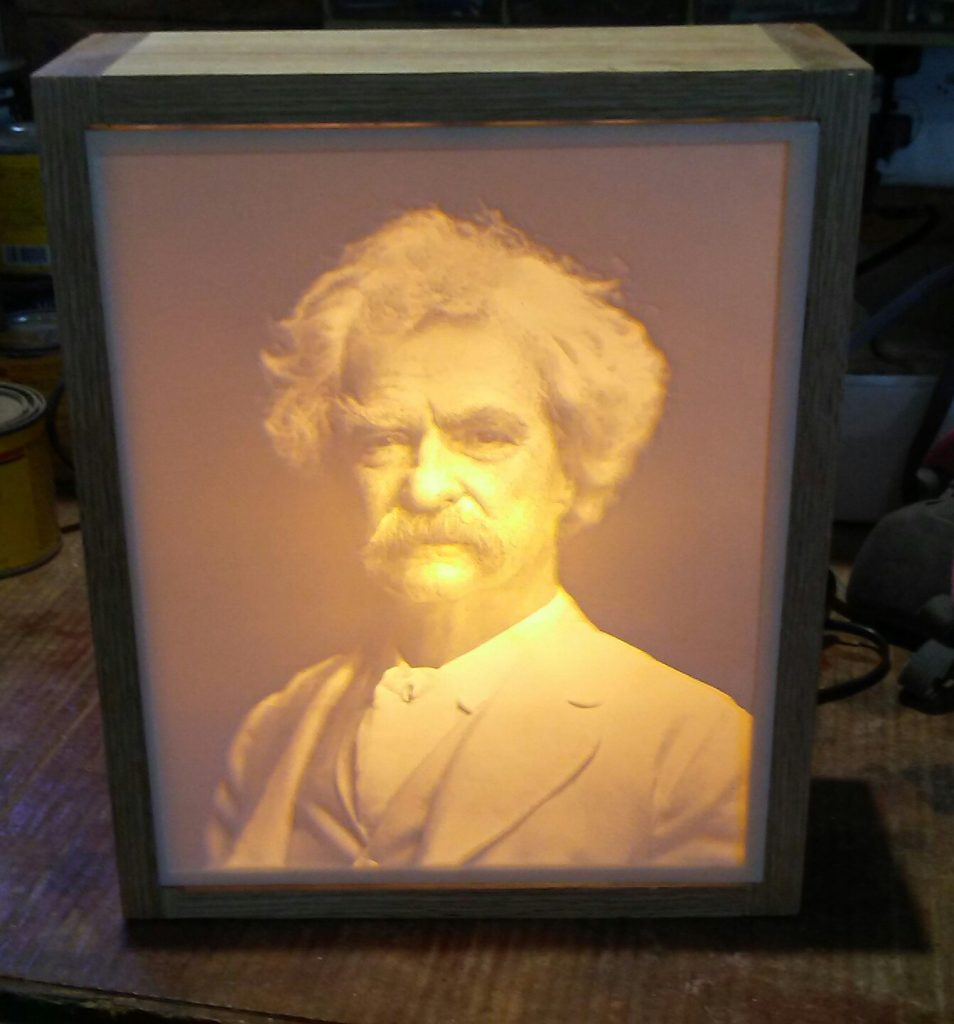 Carved Mark Twain Lithopane