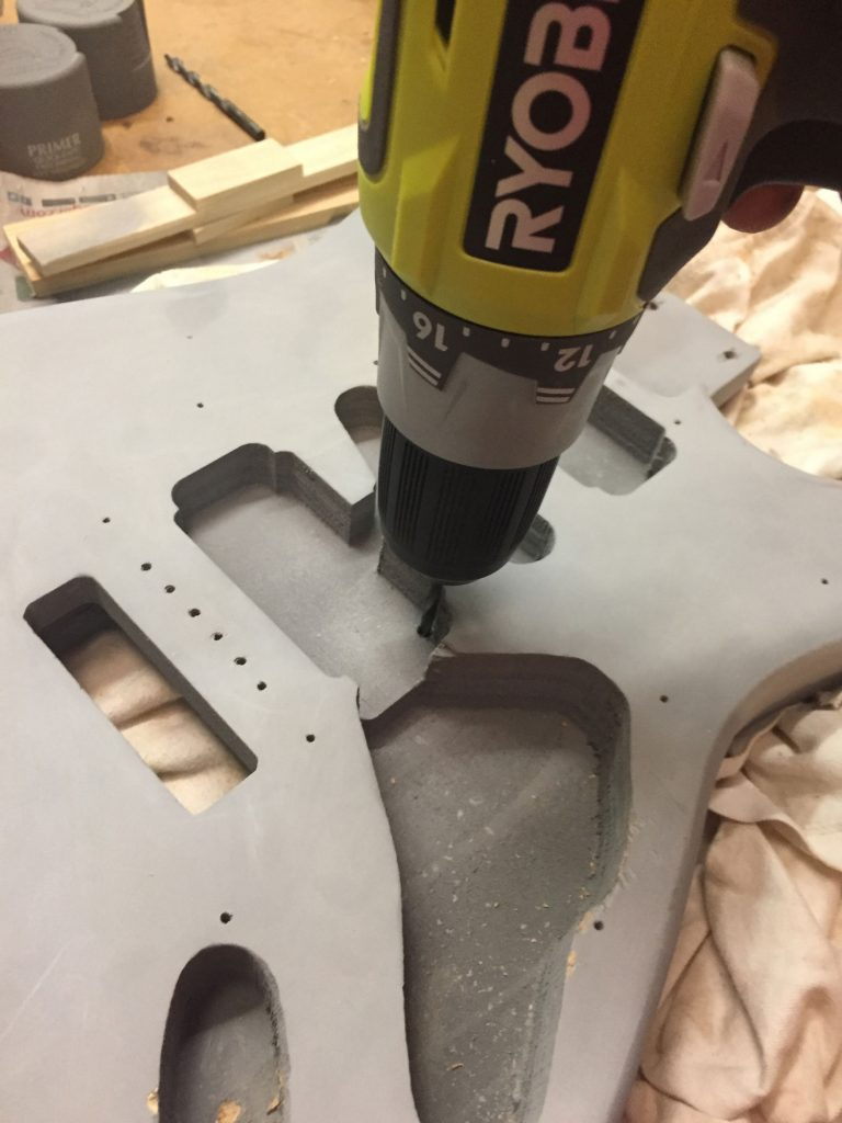 drilling mounting holes for guitar hardware
