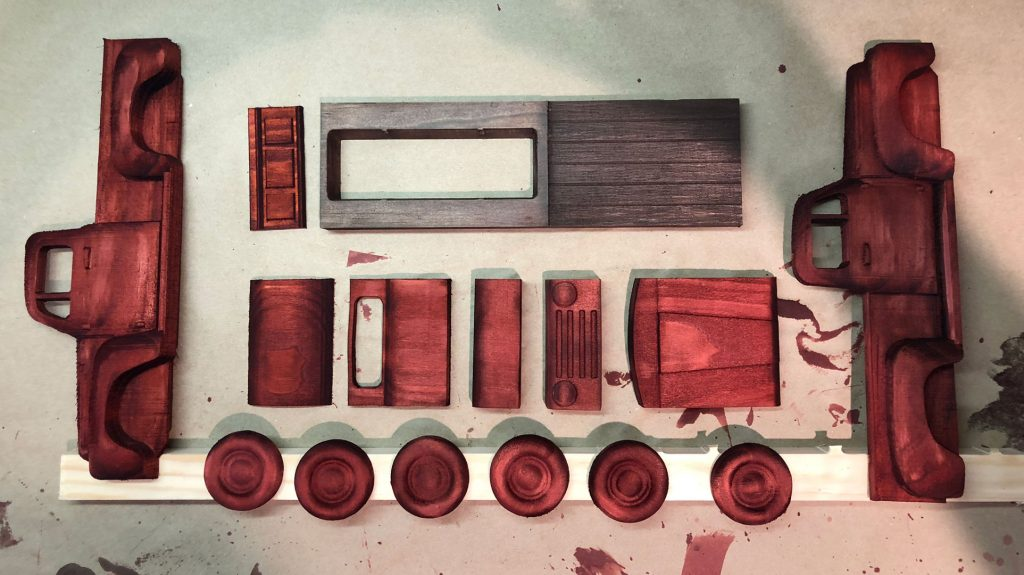 stained truck parts