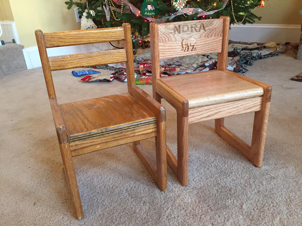 child's chairs. one carved with the name Nora