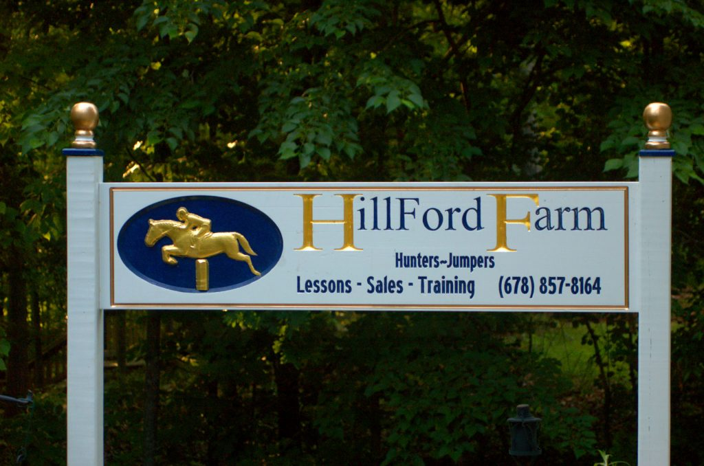 Hillford Farm with scanned horse jumping pattern.